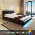 iKayaa modern design artificial leather solid wood bedroom furniture home furniture with LED Free ship to Spain 140 x 200 cm