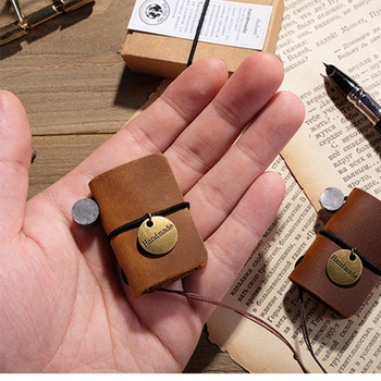 Mini Portable Loose-Leaf Rope Notebook with Metal Cover Pendant Bag Decor Leather Cover, Size: 4.5x3cm, 32 Sheets, Blank Page