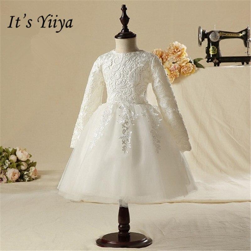 It's yiiya New Long Sleeve   Flower     Girl     Dresses   White Knee-Length   Girls     Dress   O-neck Princess Ball Gown TS257