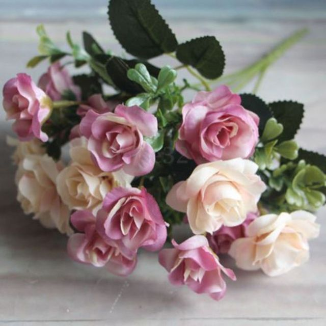 15 Silk Flowers Vintage Wedding Artificial Pink & Cream Rose Posy ...