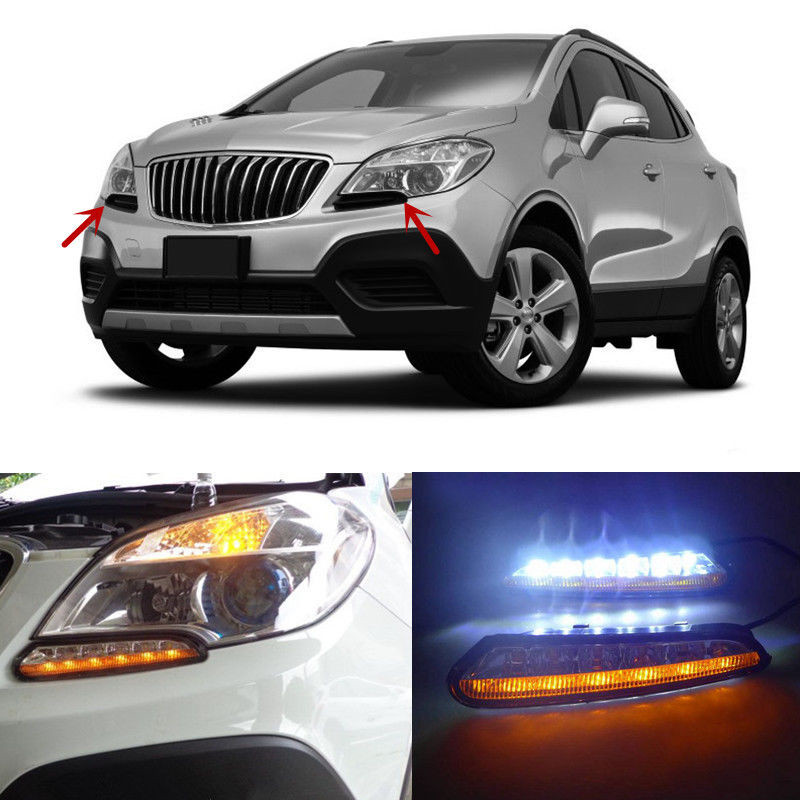 ФОТО 12V Car LED DRL Daytime Running Light Fog Lamp With Turn Signal For BUICK ENCORE 2012 2013 2014 2015