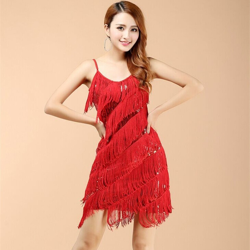 Charleston Gatsby Fringed Flapper Dress Party Outfit Headband S Red 7 Tiers