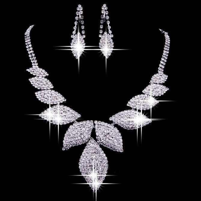 1set Bling Wedding Bridal Prom Crystal Rhinestones Leaf Necklace Earring Jewelry Set