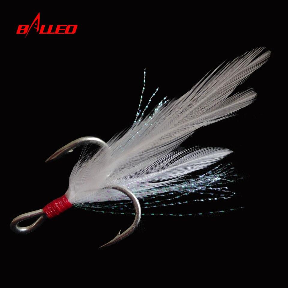 20pcs black treble hooks feather fishing hooks