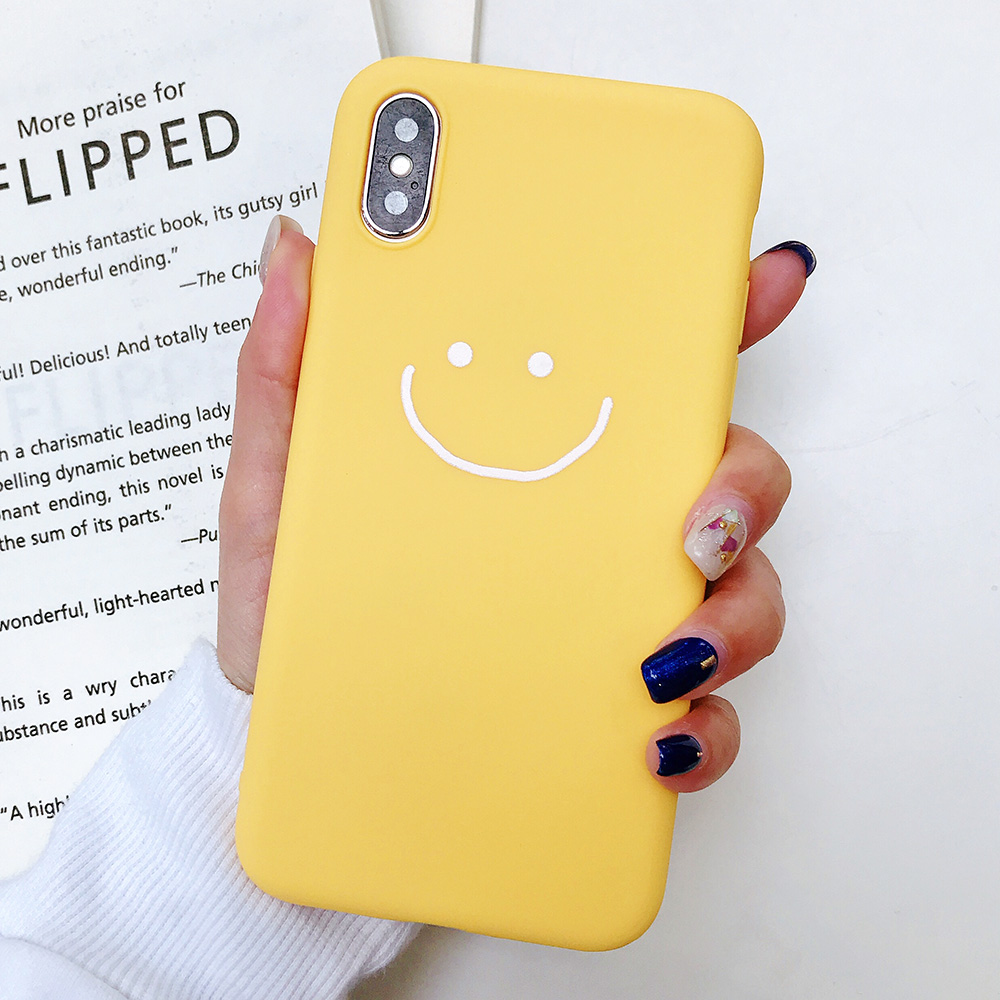 KIPX1083Y_1_JONSNOW Phone Case for iPhone X XR XS Max Candy Color Smiley Pattern Soft Silicone Case for iPhone 7 8 6S 6 Plus Back Cover