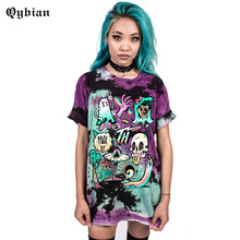 Qybian Good Quality Summer women t-shirt Rock and roll Style monster print Loose Short Sleeve o-neck tops female/womens