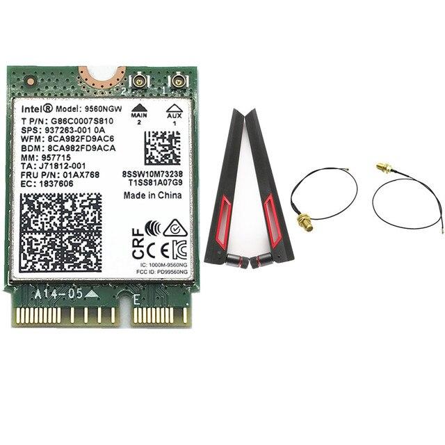 אינטל 9560 9560NGW 1730 Mbps Bluetooth 5.0 כרטיס עם ASUS AC88U 8dbi Dual Band MHF4 UF. L אנטנות סט