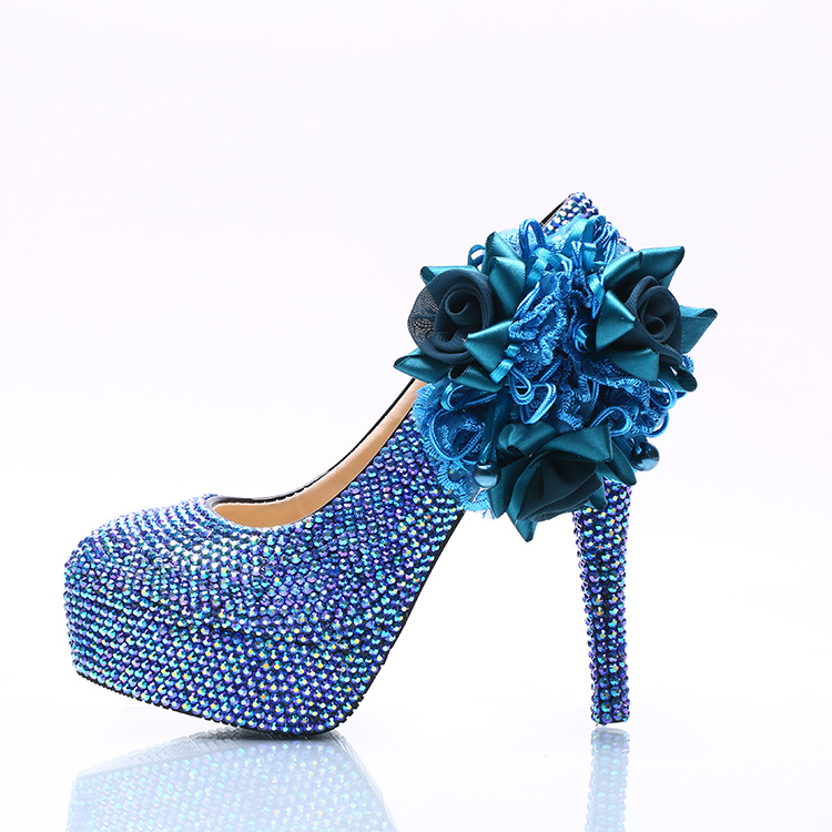 Plus sizes diamond blue crystal rhinestones brides wedding pumps shoes HS102 stable platforms blue flower ladies party shoes bow wedding shoe for brides blue bowtie fashion luxury rhinestones party dress pumps shoe pr653 blue wedding shoes woman