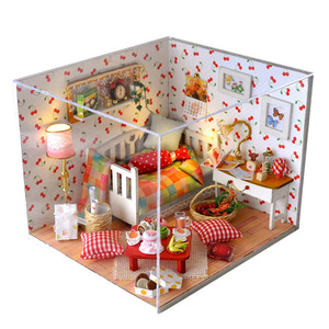 Doll House Model Miniature DIY Dollhouse With Furnitures With Cover Fruit Of Autumn Handmade Wooden House Toys TW12 #E