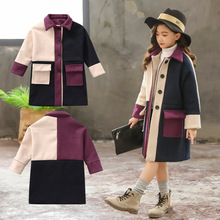 3-13T Girl Woolen Coat 2019 Autumn Winter Fashion Single-bre