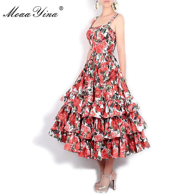 MoaaYina diseñador de moda pista vestido de verano de las mujeres de la correa de espagueti sin espalda estampado Floral en cascada, Vestido de playa,-in Vestidos from Ropa de mujer    3