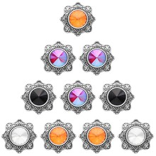 Wholesale 10pcs/lot 18mm Snap Jewelry 4 color Metal buttons vintage Silver Rhinestone Snaps