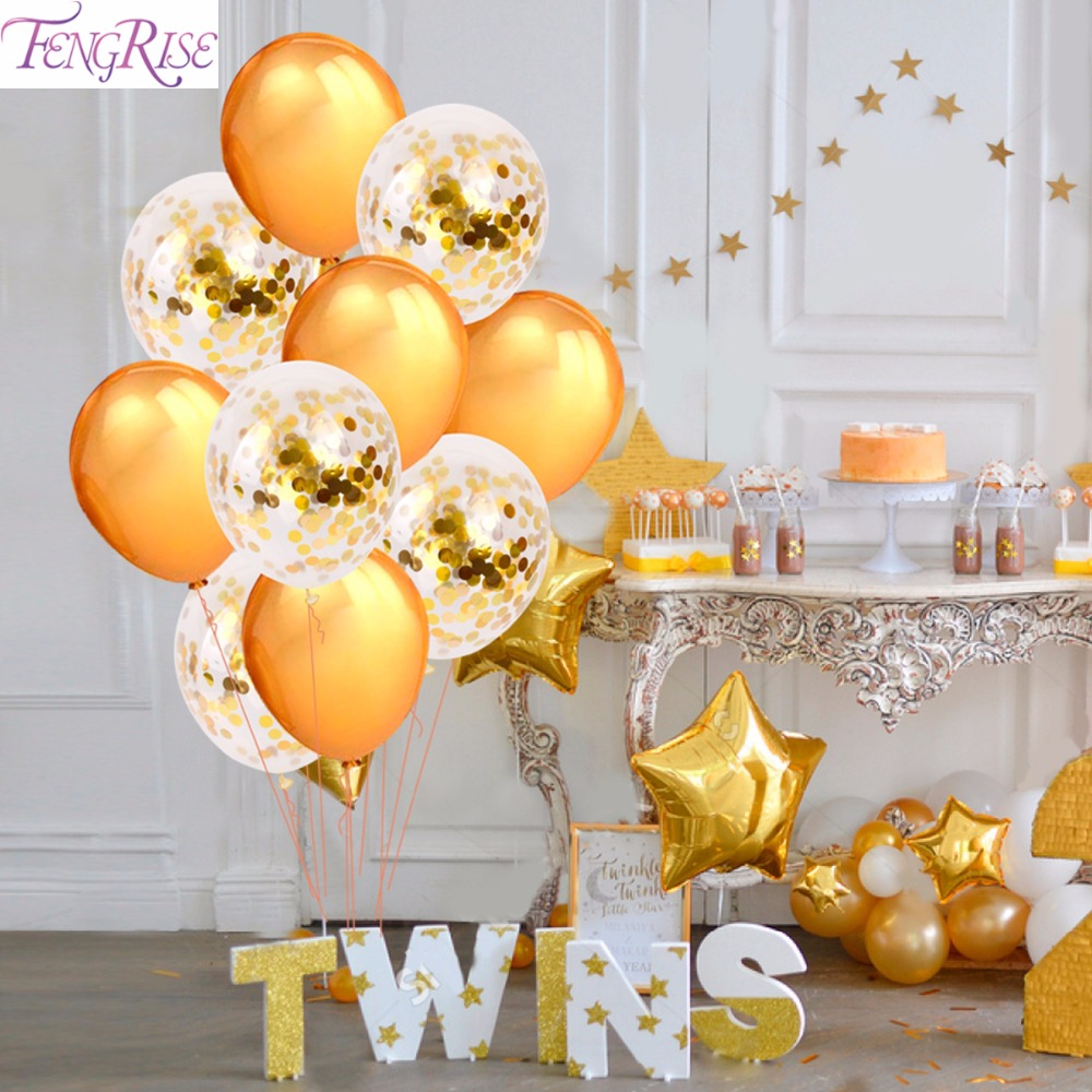 FENGRISE 10pcs 12Inch Happy Birthday Balloons Champagne Gold Latex Balloon Wedding Decoration Birthday Party Confetti Balloons
