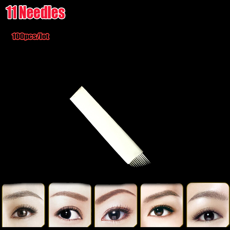 New 100pcs 11 Needles Permanent Makeup Manual Eyebrow Tattoo Needles Blade For 3D Embroidery Microblading Tattoo Pen Machine 9