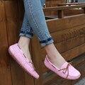 Venta caliente de las mujeres se deslizan en los planos de las mujeres Mocasines de cuero genuino zapatos planos de las mujeres zapatillas de ballet mujeres holgazán