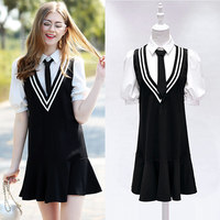 101552017 Spring Summer New Model Real College Wind Dress Korean Fashion False Two Female