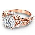 9 K de Oro Rosa Anillo de Compromiso Art Deco 1.5 Quilates de Edad Corte Redondo Diamante Simulado Anillo de La Vendimia europea Única de Oro de Diamantes anillo