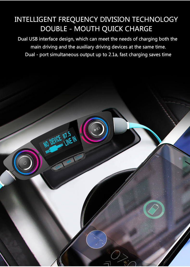 ANLUD FM Transmitter Bluetooth Handsfree Car Kit Aux Modulator Radio FM Car Audio TF AUX MP3 Player (3)