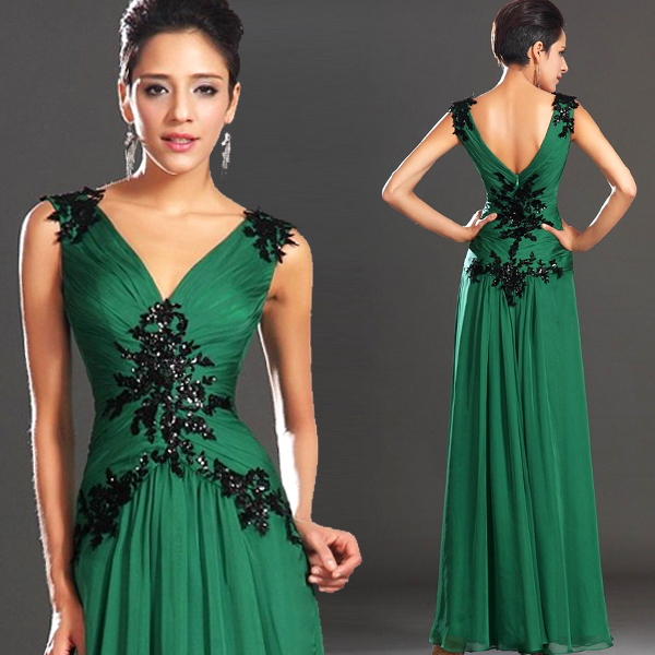 4e7dad7ad43ec Sexy Deep V Neck Green Lace Flowers With Crystal Sleeveless Floor Length  Formal Evening Dresses Long Engagement Dress