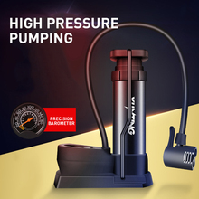 Bicycle Pump Aluminum Alloy  Mini  Portable  Folding Foot  American Air Nozzle  French Air Nozzle  Multi-Function Bicycle Pump multi function air pump blue