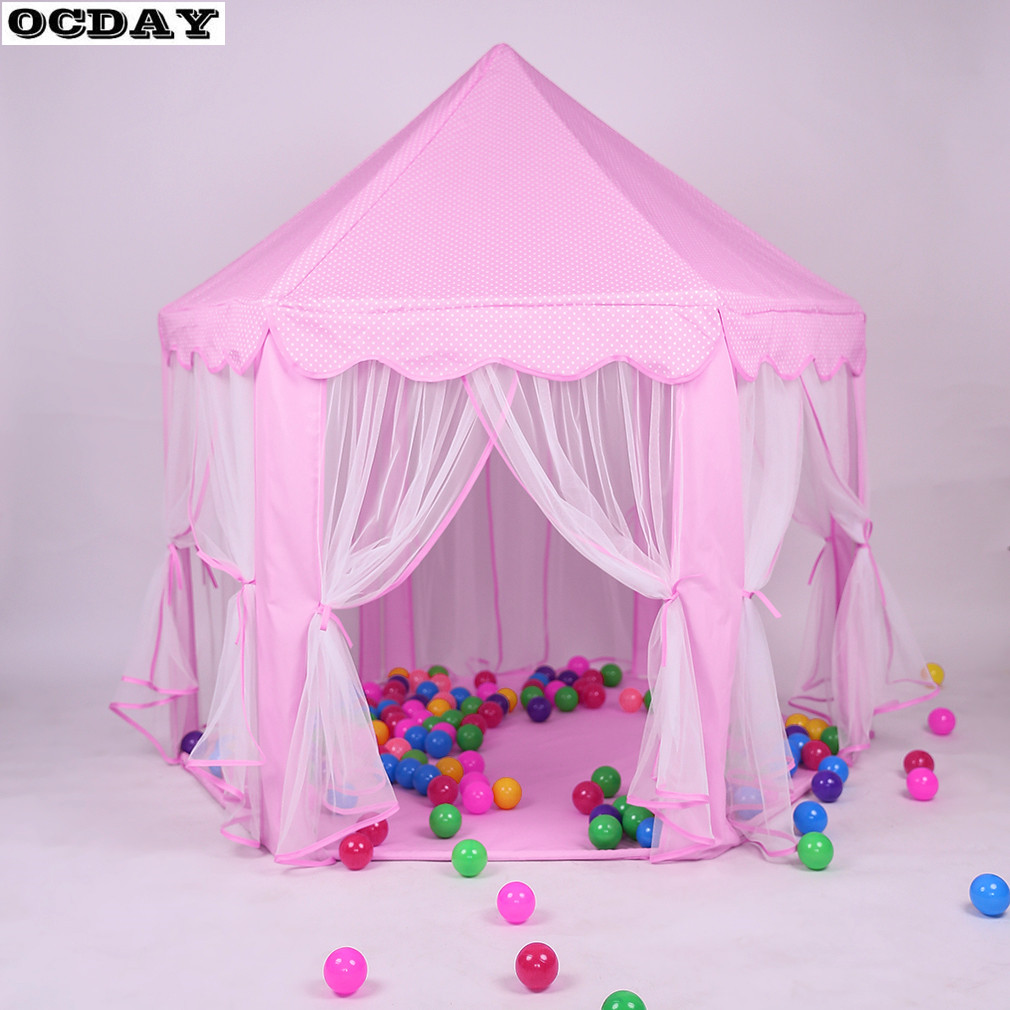 Cute Girls Pink Princess Castle Play Toys Tent New Playhouse kids Indoor Outdoor Game House For Children Portable Toy Tent mushroom kids play hut pink blue children toy tent baby adventure game room indoor outdoor playhouse
