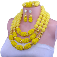 African Crystal Yellow Jewelry Set Nigerian Wedding African Beads Jewelry Set Crystal Round Earrings For Women