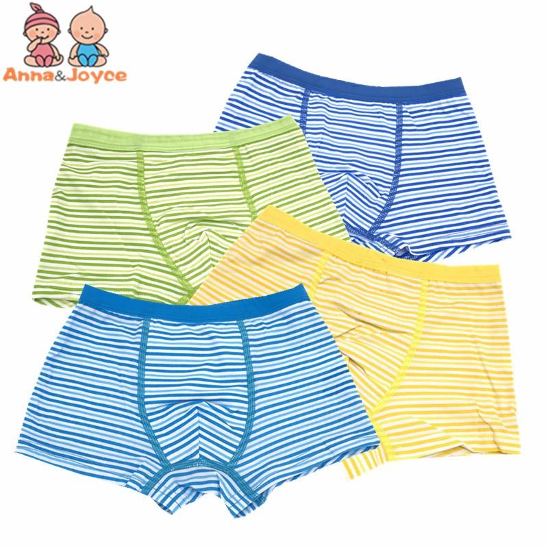 4pc/lot  Boys Fashion Cute Stripe Print Boxers Short Children Soft Underpant Underwear Ventilate Underpant