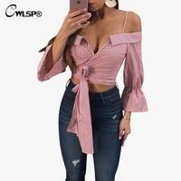 CWLSP Three Quarter Striped Blouse Shirt Women Slash Neck Slare Sleeve Tops With Bow Beach Crop