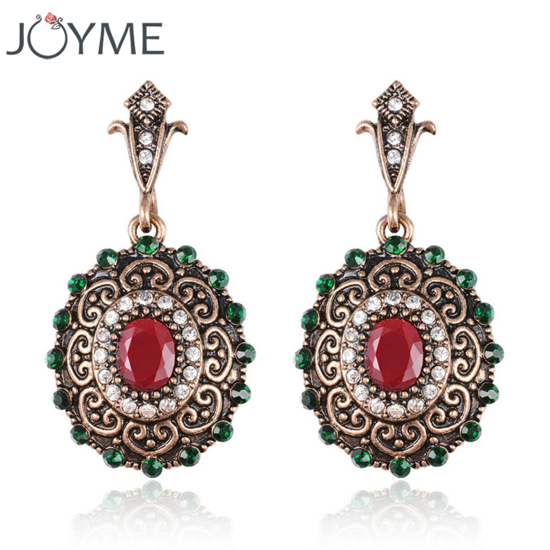 Turkish Designer Elegant Top Green Resin Stone Retro Gold Plating Big Dangle Long Ear Clip On Earrings For Women Pendientes