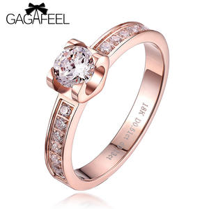 Zircon Ring Jewelry Rose-Gold-Color Christmas-Passion Honey Women High-Quality Romantic