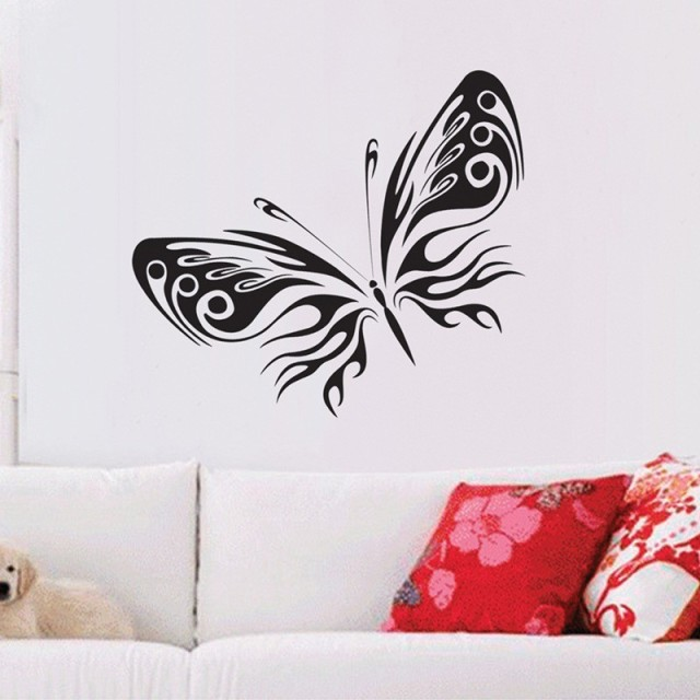 Hot Sale Alone Beautiful Black Butterfly Wall Sticker Bedroom Living Room  TV Backdrop Adhesivos Pared Hogar Part 75