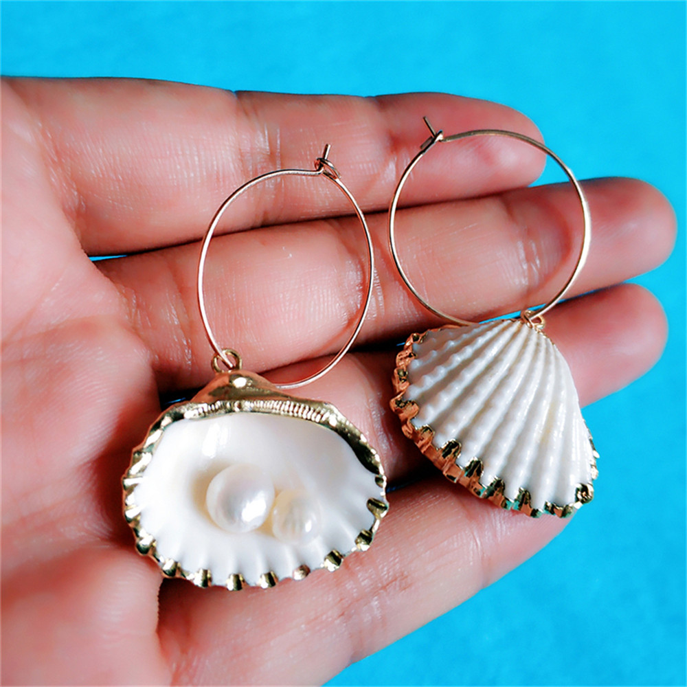 VIVILADY Bohemia Natural Real Conch Ocean Seashell Women Hoop Earrings Trendy Chic Cowrie Shell Beach Holiday Jewelry Brincos