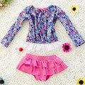 Baby Girl Summer Beach traje de Baño Traje de Baño de Tres Piezas Conjunto de La Princesa Flor Niño Niños traje de Baño Lindo Bikini S2031