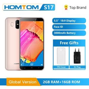 Image 1 - Global Version HOMTOM S17 Android 8.1 Smartphone Quad Core 5.5inch Fingerprint Face Unlock 2G RAM 16G ROM 13MP+8MP Mobile Phone