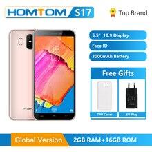 글로벌 버전 HOMTOM S17 안드로이드 8.1 스마트 폰 쿼드 코어 5.5 인치 지문 얼굴 잠금 해제 2G RAM 16G ROM 13MP + 8MP 휴대 전화