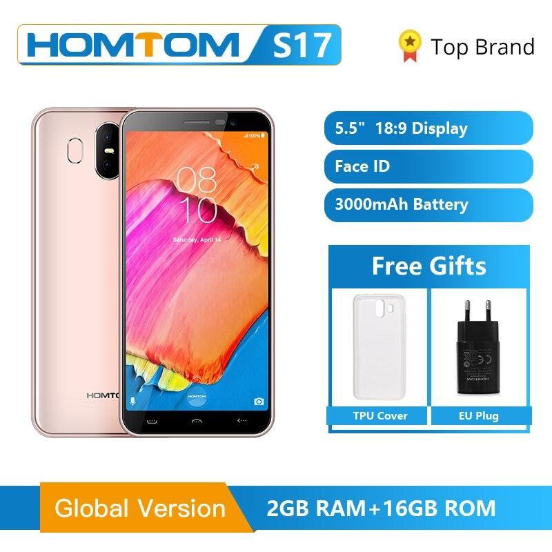 Versão global homtom s17 android 8.1 smartphone quad core 5.5 polegada impressão digital face desbloquear 2g ram 16g rom 13mp + 8mp telefone móvel