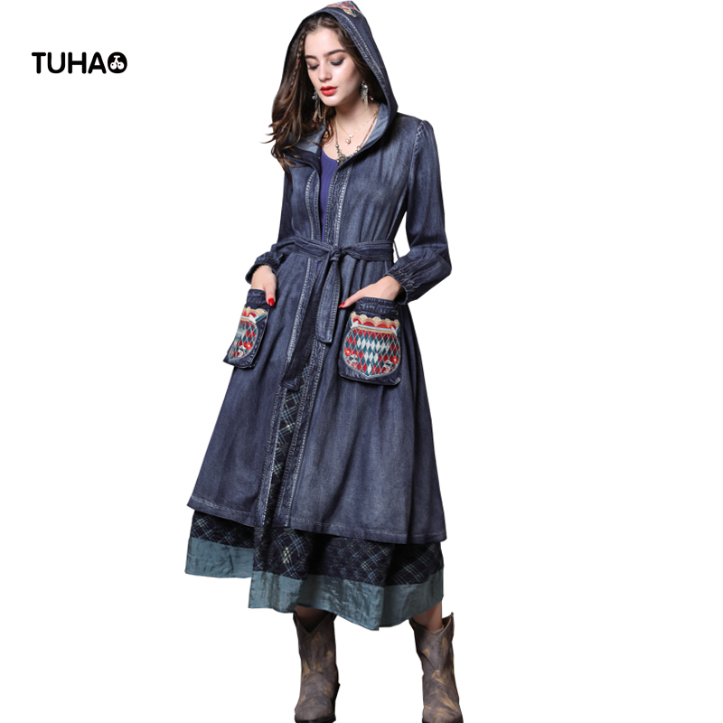 TUHAO 2018 Autumn Hooded Denim Trench Coat Geometric Embroidered Vintage Trench Casual Outerwear Windbreaker Sashes T82113