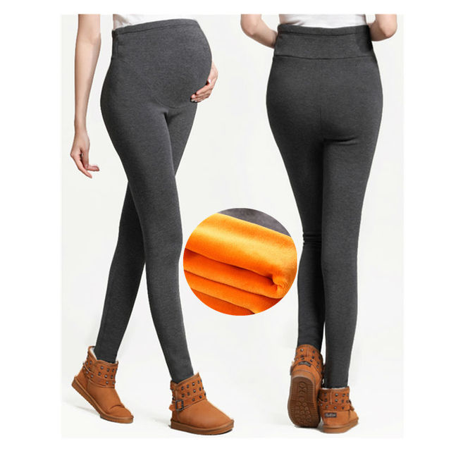 High Waist Women Leggings Maternity Clothes Winter Leggings Thickened With Velvet Pregnant  Trousers Warm Pants