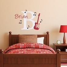 Musical Series Art Fashion Room Decoration Bedroom Livingroom Wall Sticker Custom Name With Guitar Poster Mural Art Design W287 стоимость