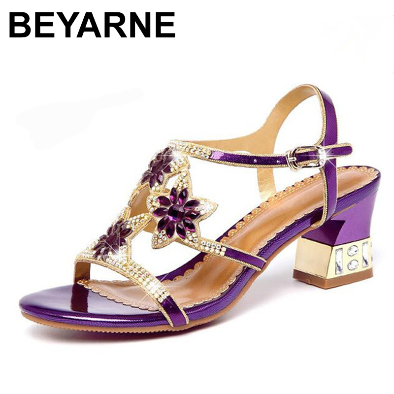 BEYARNE New Summer Women Sandals Rhinestone Shoes Fashion with Genuine Leather Shoes Women Summer Sandals beyarne summer sandals female handmade genuine leather women casual comfortable woman shoes sandals women summer shoes