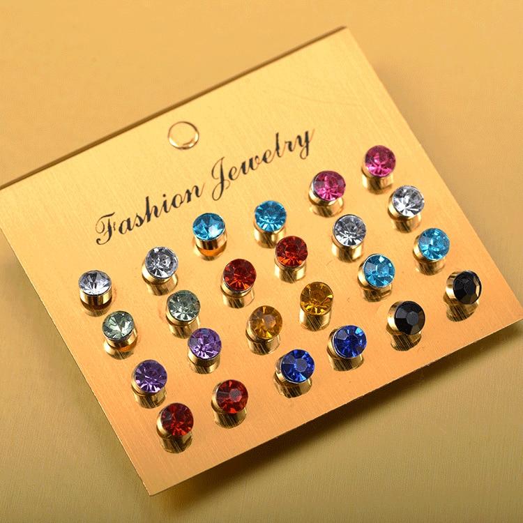 12 Pairs/set Colorful Crystal Zircon Stud Earrings Set For Women Jewelry Rhinestones Piercing Earrings Bijouteria Brincos