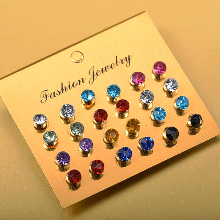 12 Pairs/set Colorful Crystal Zircon Stud Earrings Set For Women Jewelry Rhinestones Piercing Earrings Bijouteria Brincos
