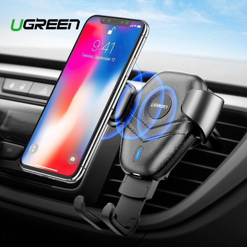 Ugreen Montar Carro Qi Carregador Sem Fio para iPhone XS X XR 8 Rápido Carregamento Sem Fio para Samsung Galaxy S9 S8 suporte do Telefone do carro