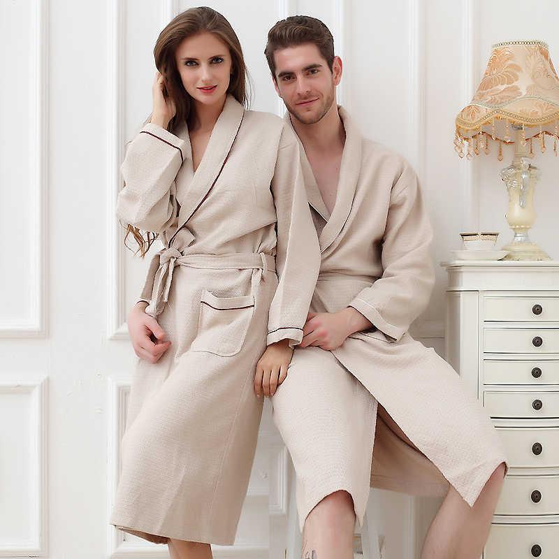 1866b20681 Waffle bathrobe women cotton men kimono robe pijamas nightgown pajamas  sleepwear ladies lovers long soft Wedding