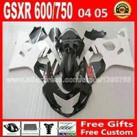 Free for 2004 2005 SUZUKI glossy black flat white GSXR 600 750 custom fairing kit K4 gsxr600 04 05 gsxr750 fairings kits ZTV 90