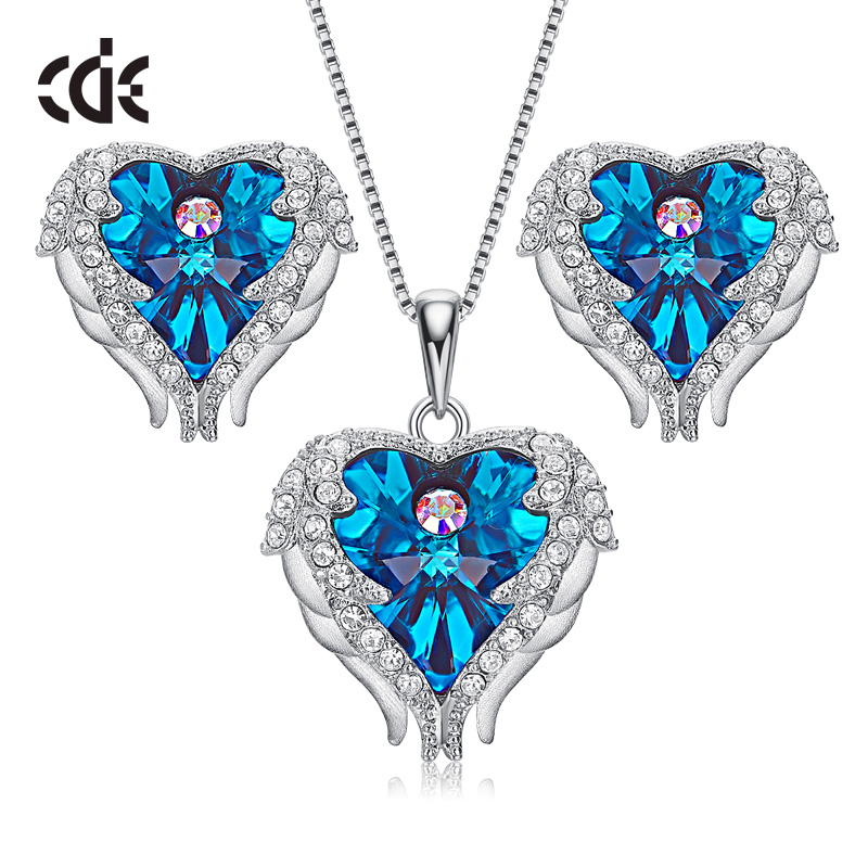 285fcbd61 CDE Crystals from Swarovski Women Jewelry Set S925 sterling silver Angel  Wing Heart Necklace Earrings Sets Gifts Valentine's Day