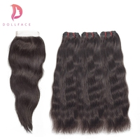 Dollface Brazilian Virgin Hair Bundles with Closure Natural Straight Raw Hair Bundles with Closure Hair Extension Free Shipping