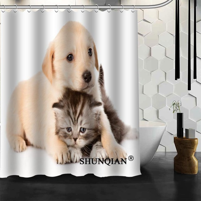 Best Nice Custom Dogs And Cats Shower Curtain Bath Curtain ...