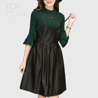 Street wear genuine leather real lambskin strap slip dress spring autumn women black slim A Line dress jurken robe femme LT2306