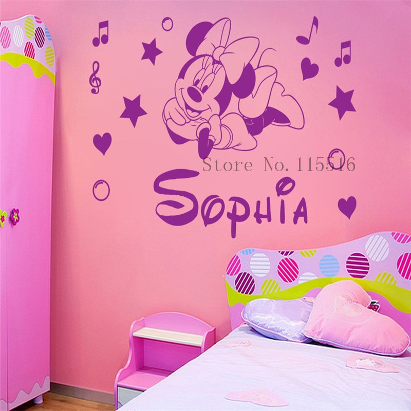DIY Custom name Personalised Minnie Mouse Poster paper for Nursery kids  room wall stickers home decor
